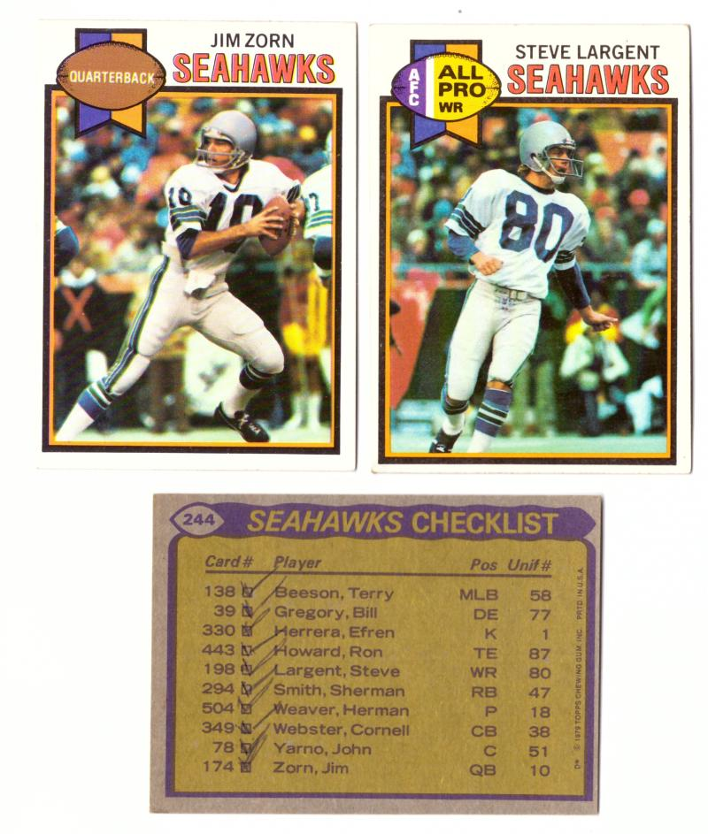 1979 Topps Football Team Set - SEATTLE SEAHAWKS (checklist marked)