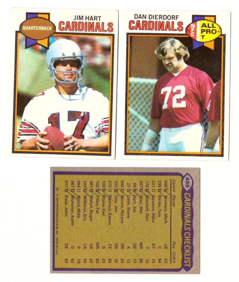 1979 Topps Football Team Set - ST LOUIS CARDINALS (checklist marked)