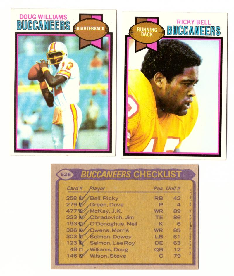 1979 Topps Football Team Set - TAMPA BAY BUCCANEERS (checklist marked)
