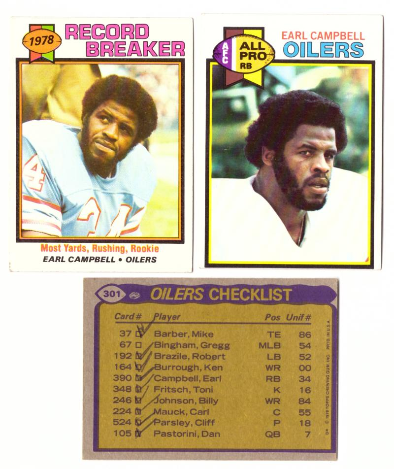 1979 Topps Football Team Set - HOUSTON OILERS  W/ EARL CAMPBELL RC (checklist marked) (B)