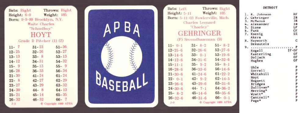 1930 APBA Reprint Season - DETROIT TIGERS Team Set