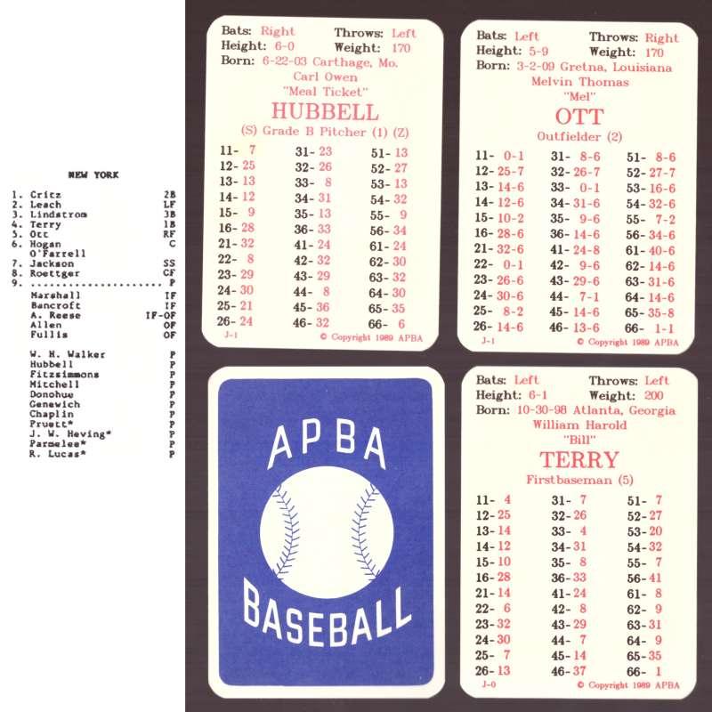 1930 APBA Reprint Season - NEW YORK GIANTS Team Set