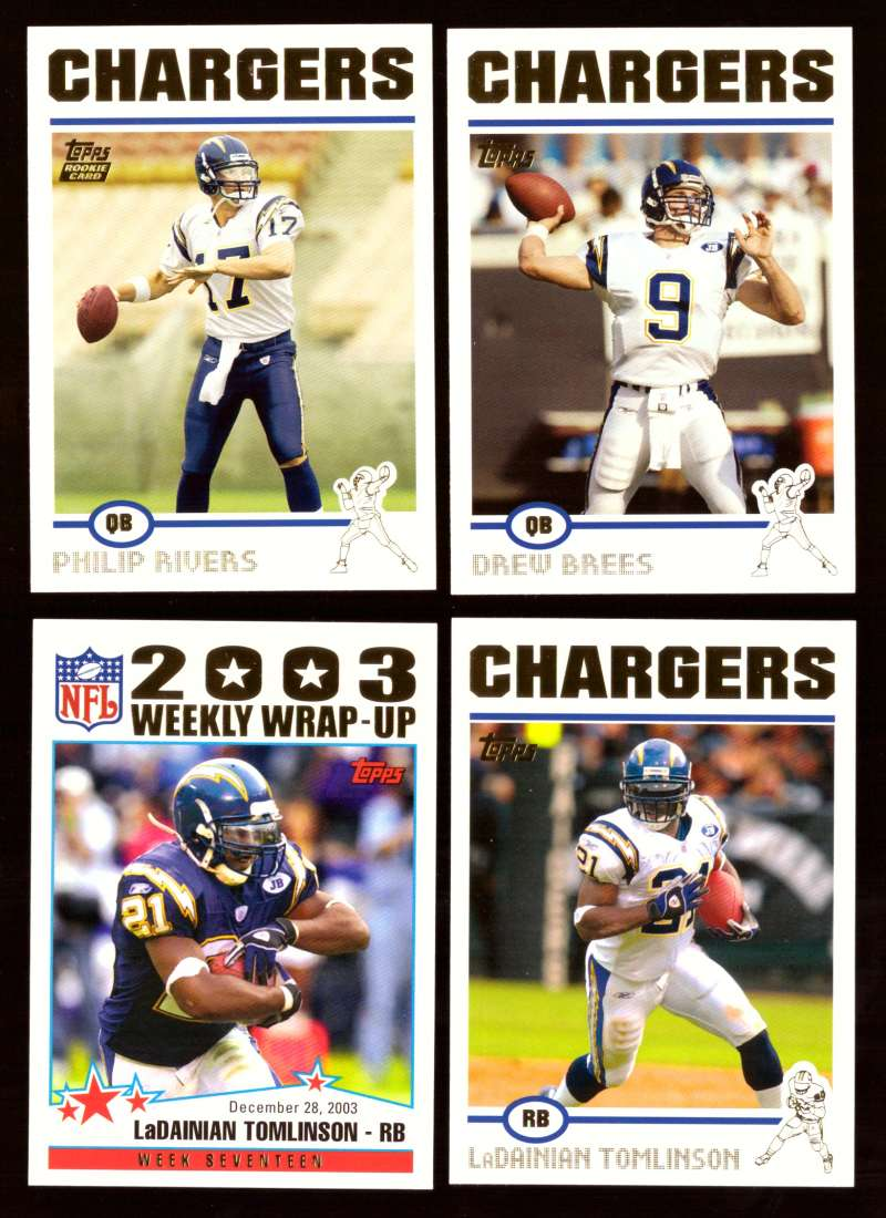 2004 Topps Gold Letter Football Team Set - SAN DIEGO CHARGERS    w/ Philip Rivers RC