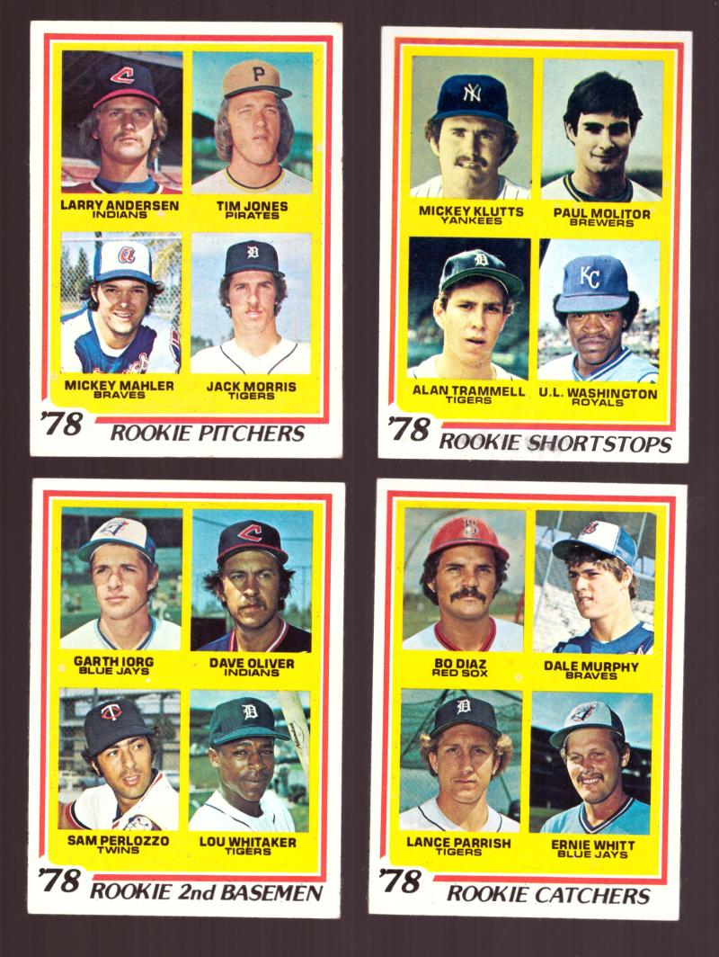 1978 Topps EX Condition - Rookies (11 cards subset) Molitor, Trammell, Whitaker, Morris, Murphy