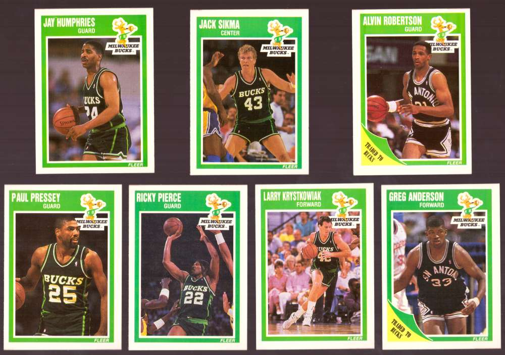 1989-90 Fleer Basketball Team Set - Milwaukee Bucks