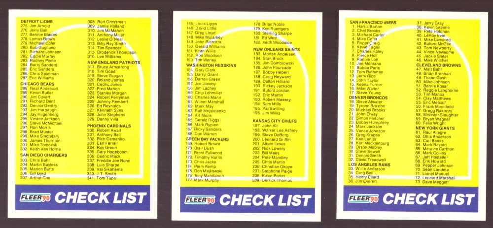 1990 Fleer Football - Checklist 3 Card set