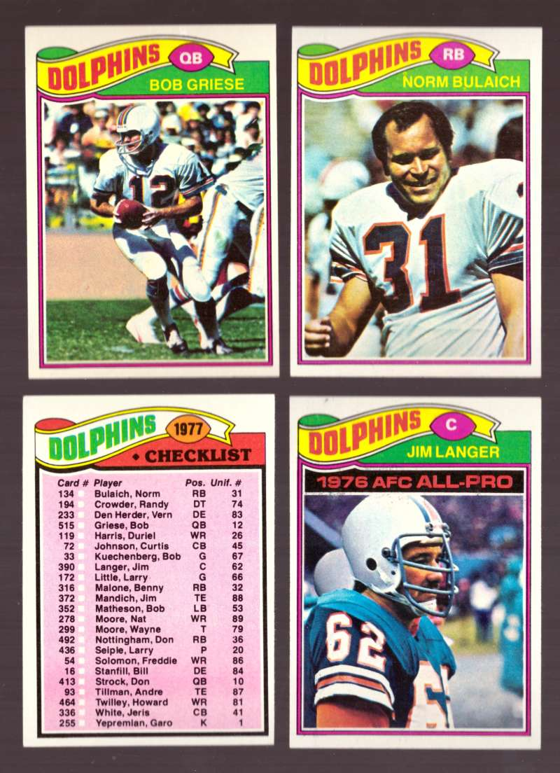 1977 Topps Football (D) Team Set - MIAMI DOLPHINS