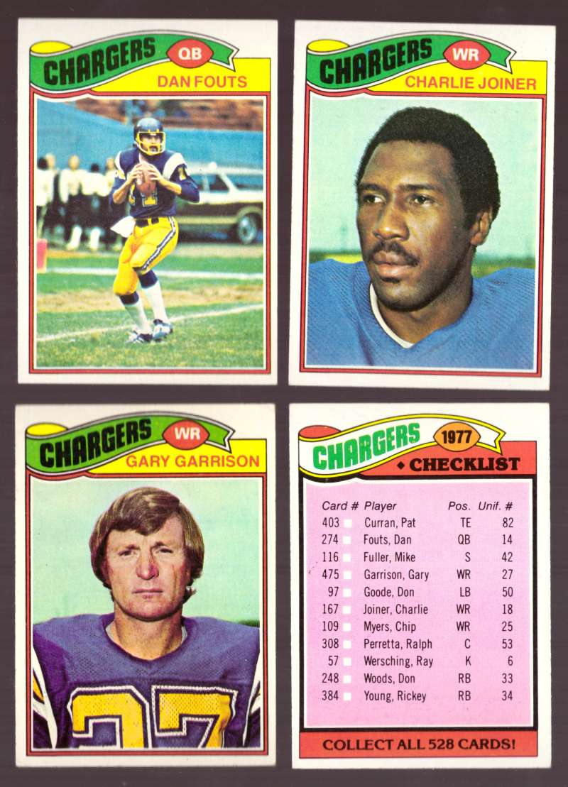 1977 Topps Football (D) Team Set - SAN DIEGO CHARGERS