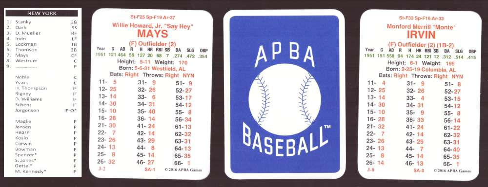 1951 APBA Baseball (Reprint from 2016) Season - NEW YORK GIANTS Team Set