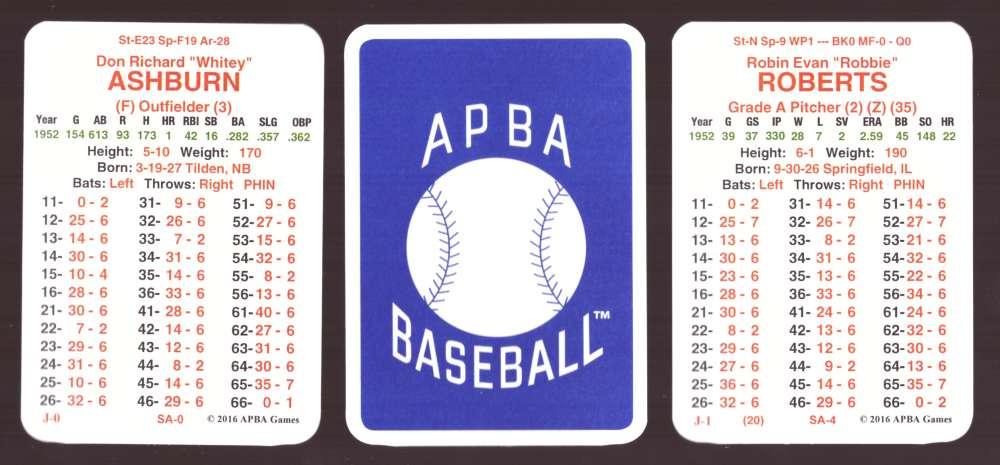 1952 APBA Baseball (Reprint from 2016) Season - PHILADELPHIA PHILLIES Team Set