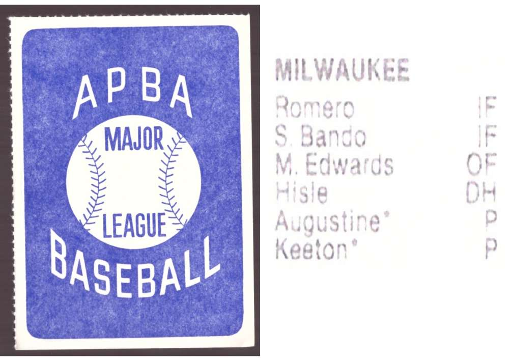 1981 APBA Season Extra Players Only - MILWAUKEE BREWERS Team Set