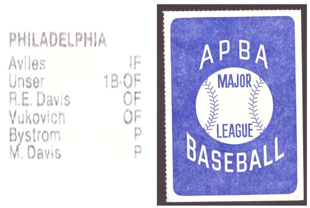 1981 APBA Season Extra Players Only - PHILADELPHIA PHILLIES Team Set