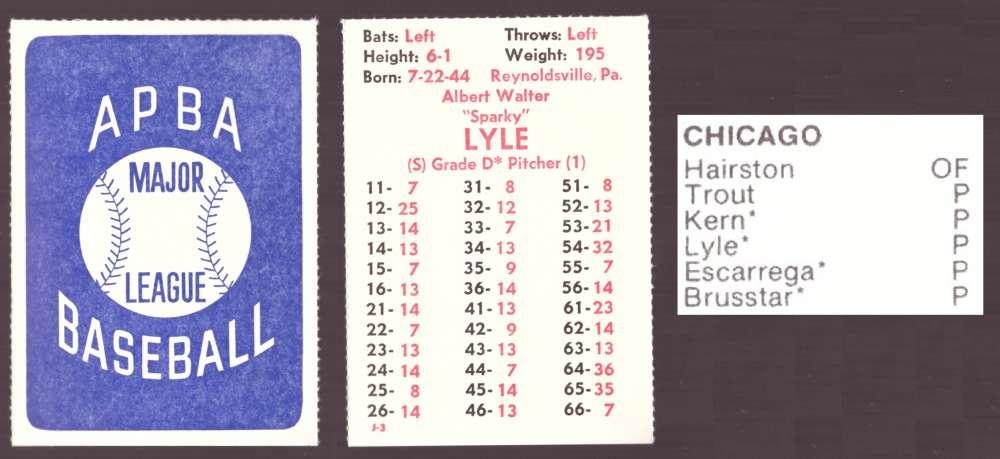 1982 APBA Extra Players Season - CHICAGO WHITE SOX Team Set