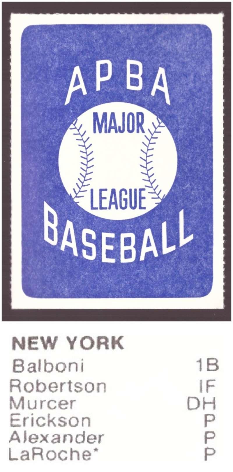 1982 APBA Season Extra Players Only - NEW YORK YANKEES Team Set