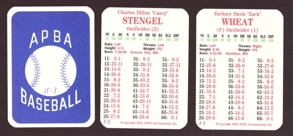 1915 APBA Season (from 2OO4, Ink on Back) - BROOKLYN DODGERS Team Set
