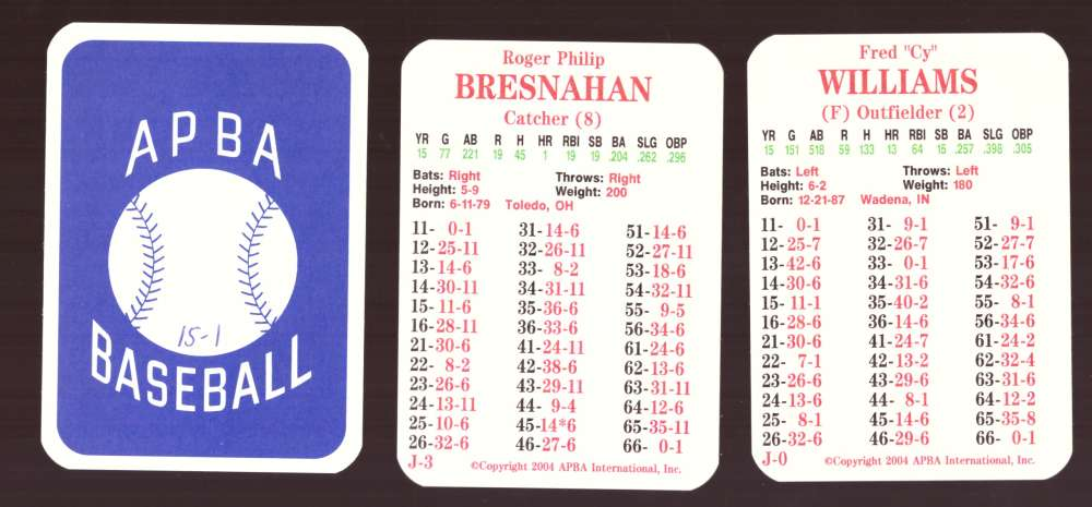1915 APBA Season (from 2OO4, Ink on Back) - CHICAGO CUBS Team Set