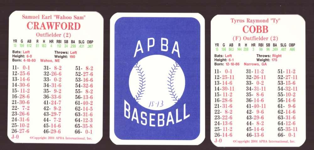 1915 APBA Season (from 2OO4, Ink on Back) - DETROIT TIGERS Team Set