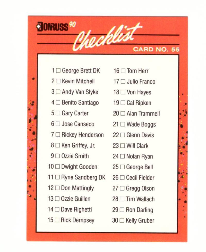 1990 Donruss Learning Series #55 Checklist