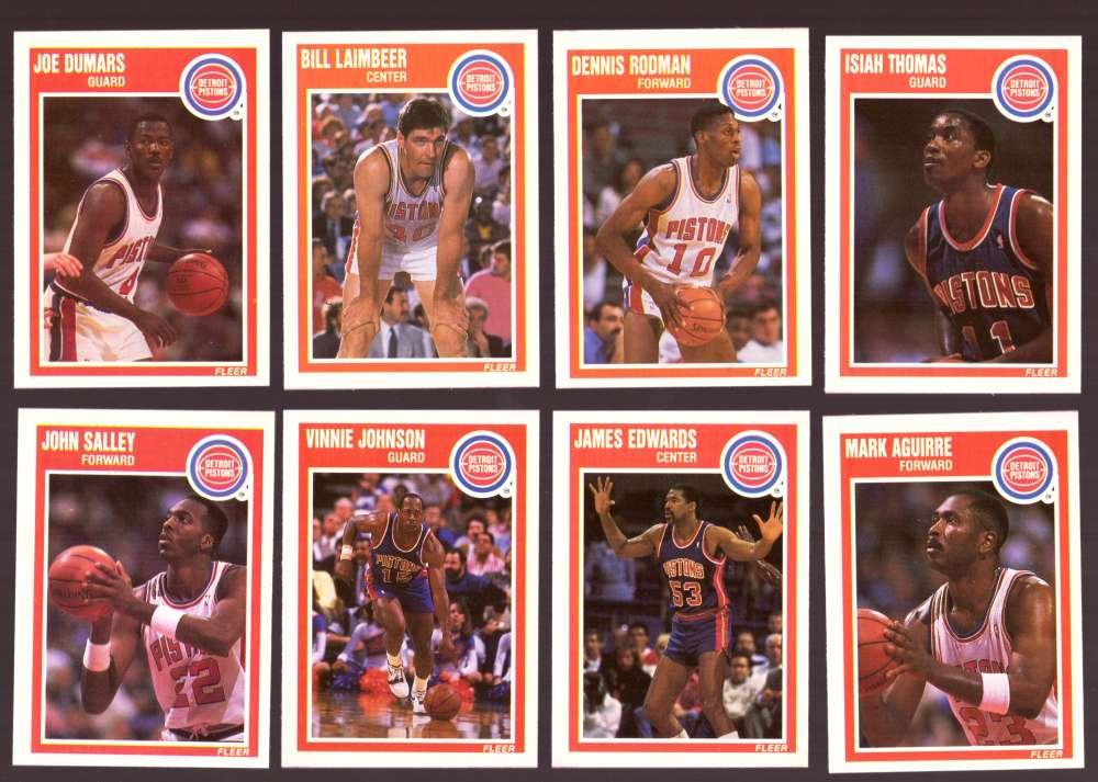 1989-90 Fleer Basketball Team Set - Detroit Pistons