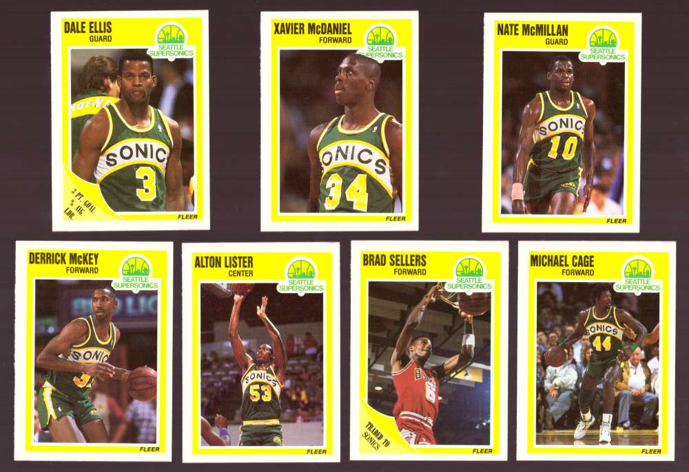 1989-90 Fleer Basketball Team Set - Seattle Supersonics