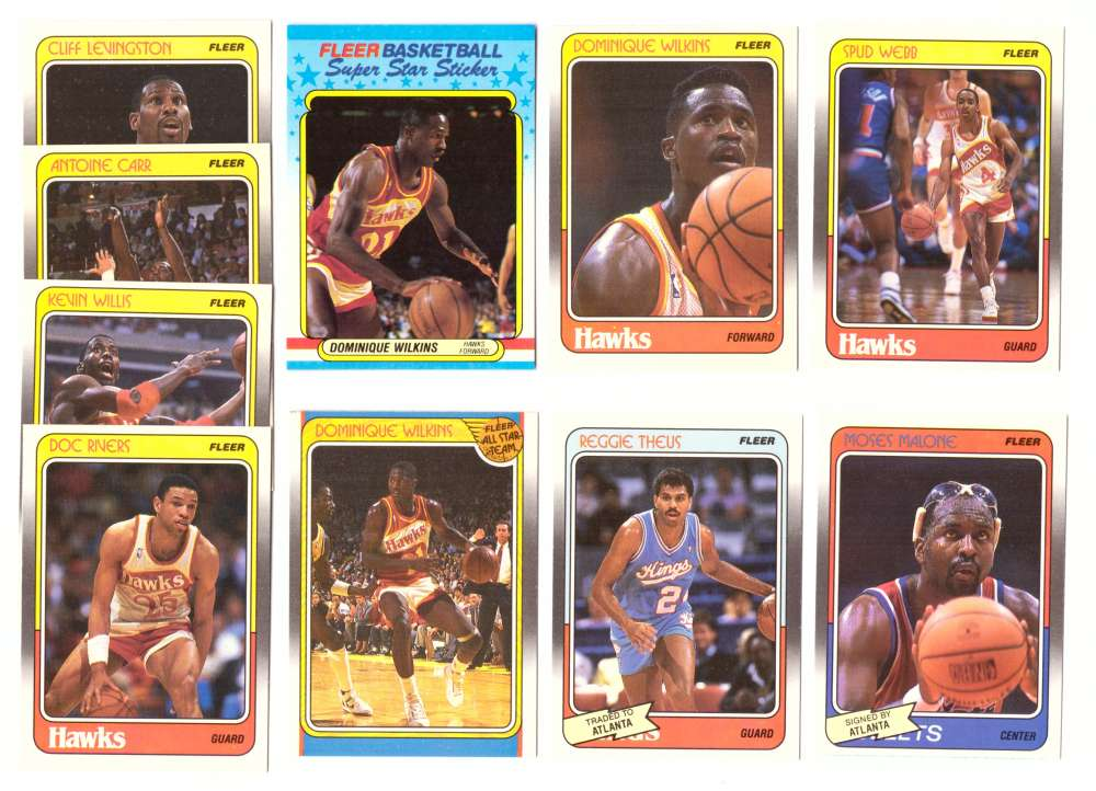 1988-89 Fleer w/ Sticker Basketball Team Set - Atlanta Hawks