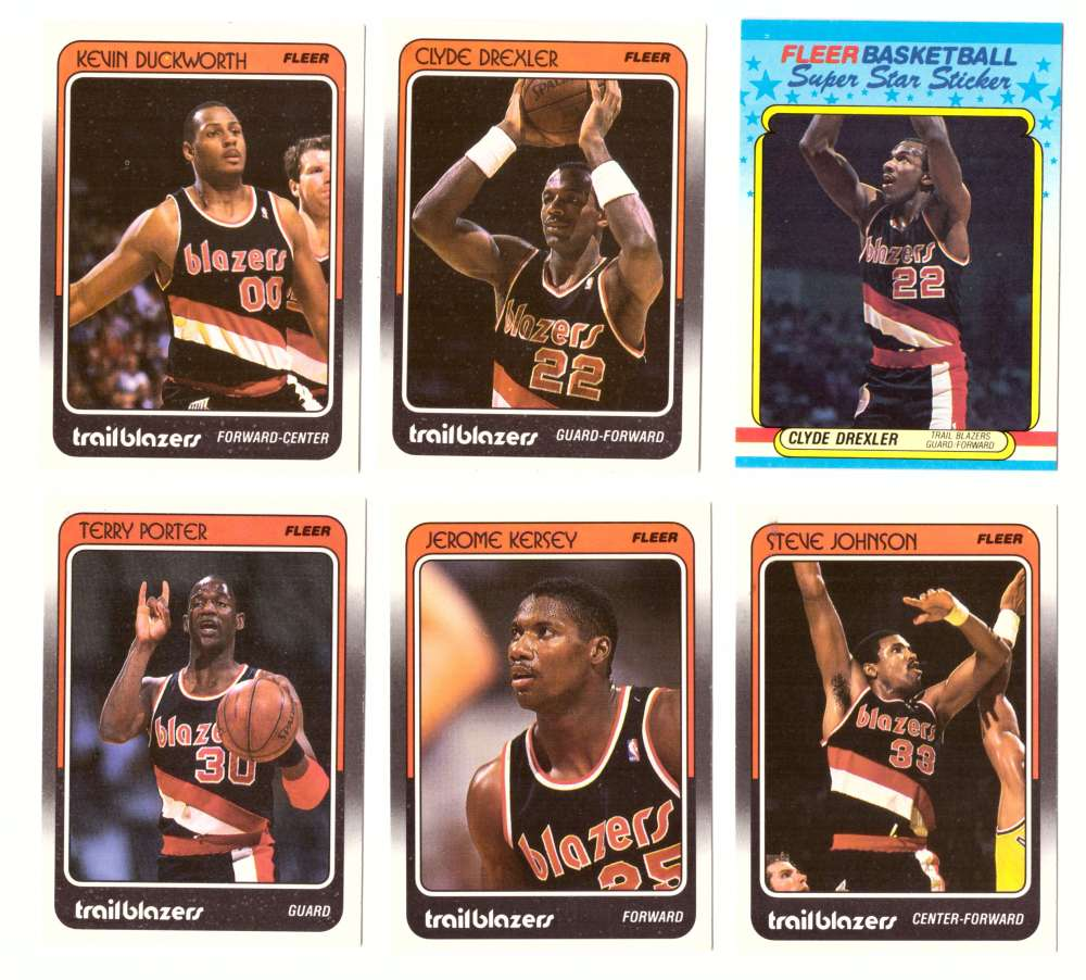 1988-89 Fleer w/ Sticker Basketball Team Set - Portland Trail Blazers