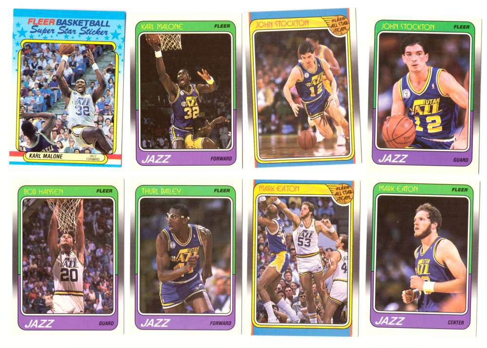 1988-89 Fleer w/ Sticker Basketball Team Set - Utah Jazz�