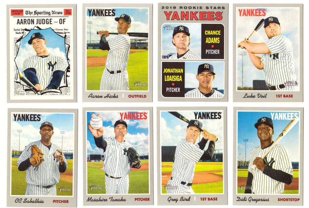 2019 Topps Heritage  (Base 1-400) - NEW YORK YANKEES Team Set