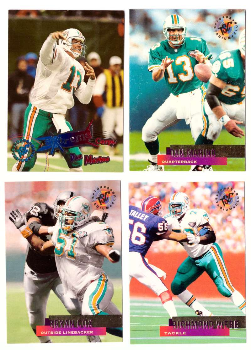 1995 Topps Stadium Club Football Team Set - MIAMI DOLPHINS