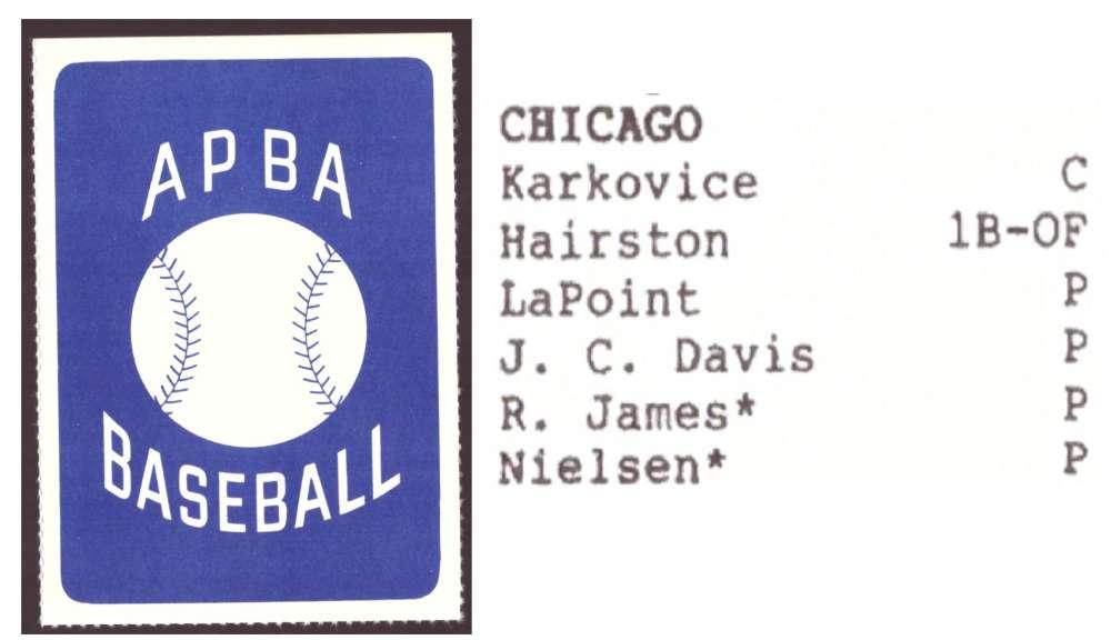 1987 APBA Extra Players Season - CHICAGO WHITE SOX Team Set