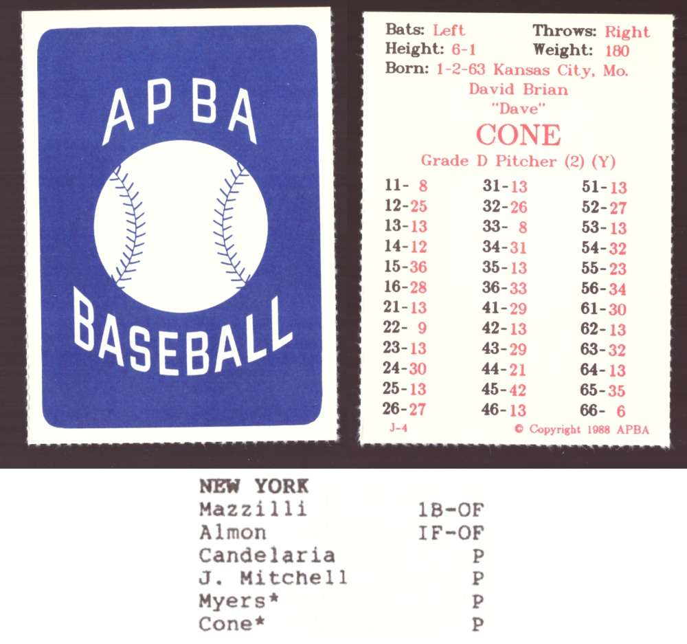 1987 APBA Extra Players Season - NEW YORK METS Team Set