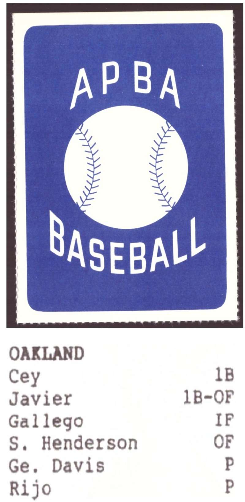 1987 APBA Extra Players Season - OAKLAND As Team set