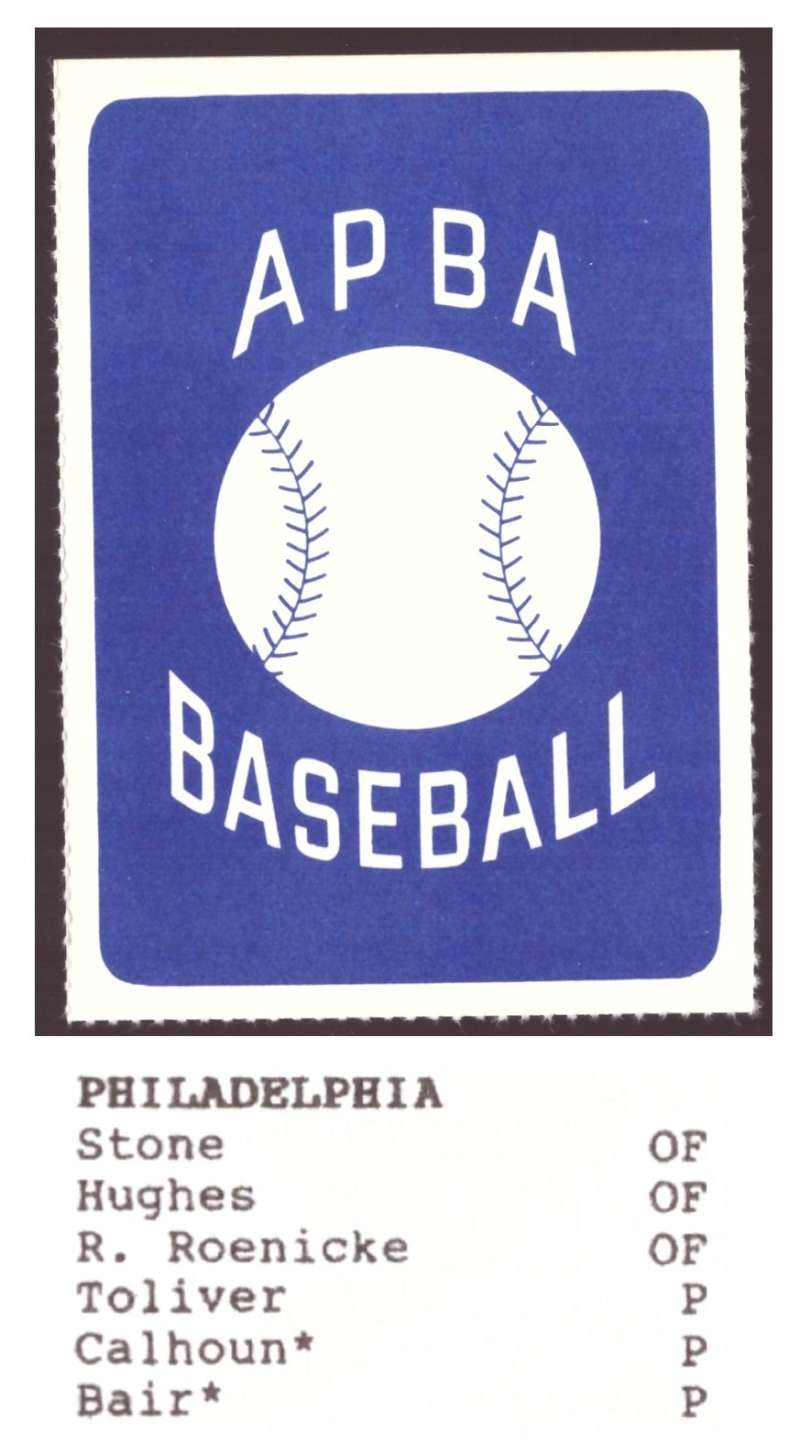 1987 APBA Extra Players Season - PHILADELPHIA PHILLIES Team Set