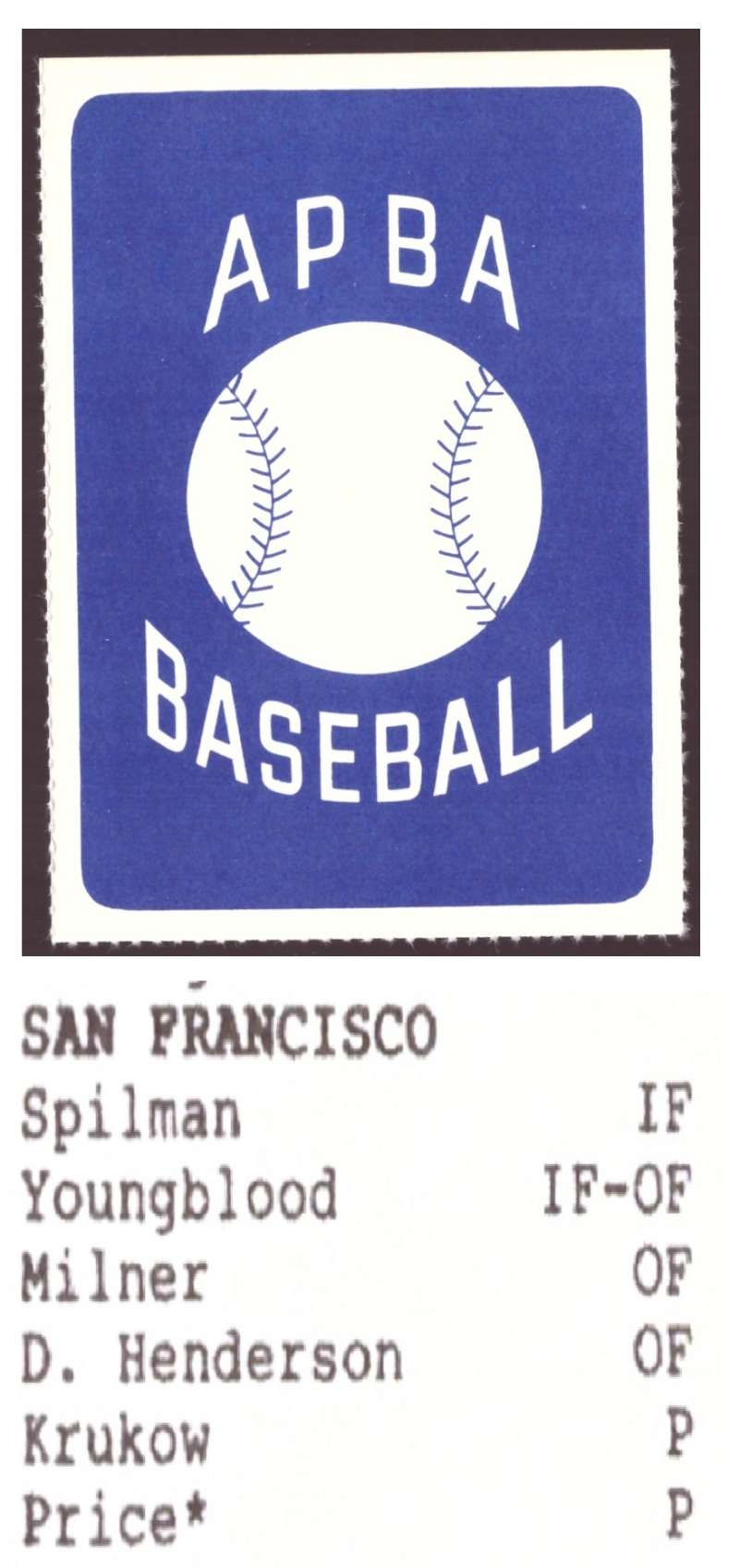 1987 APBA Extra Players Season - SAN FRANCISCO GIANTS Team Set