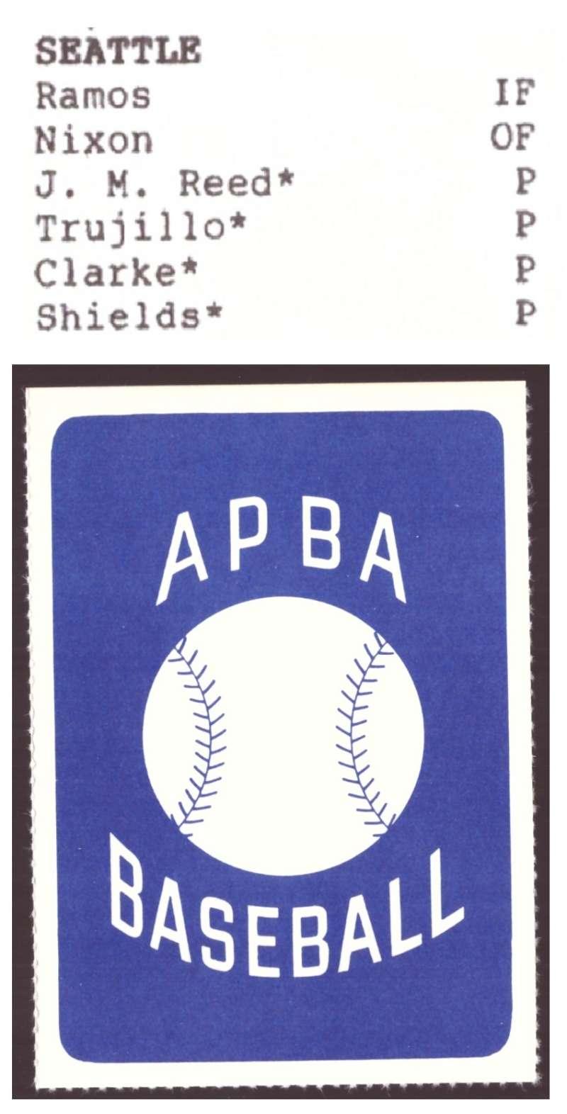 1987 APBA Extra Players Season - SEATTLE MARINERS Team Set