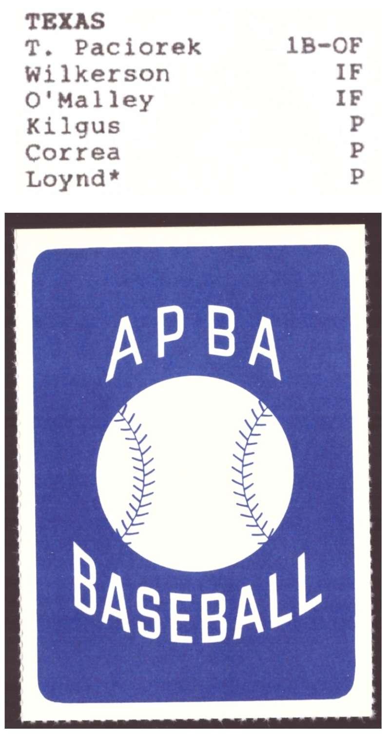 1987 APBA Extra Players Season - TEXAS RANGERS Team Set