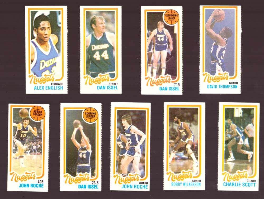 1980-81 Topps (Separated) Basketball Team Set - Denver Nuggets