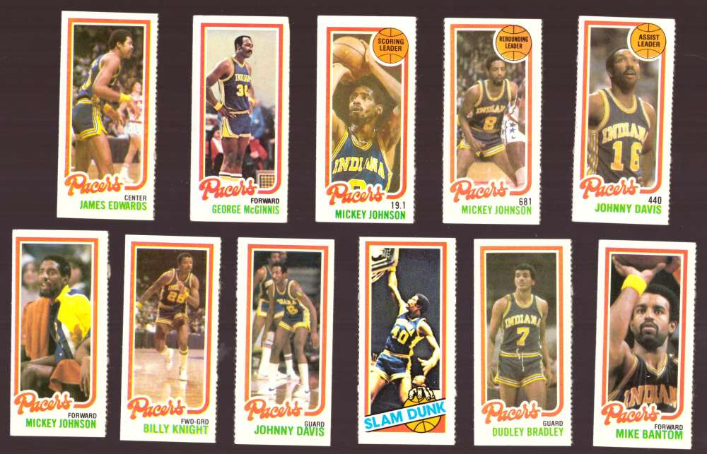 1980-81 Topps (Separated) Basketball Team Set - Indiana Pacers