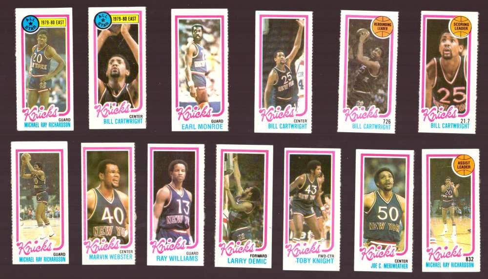 1980-81 Topps (Separated) Basketball Team Set - New York Knicks