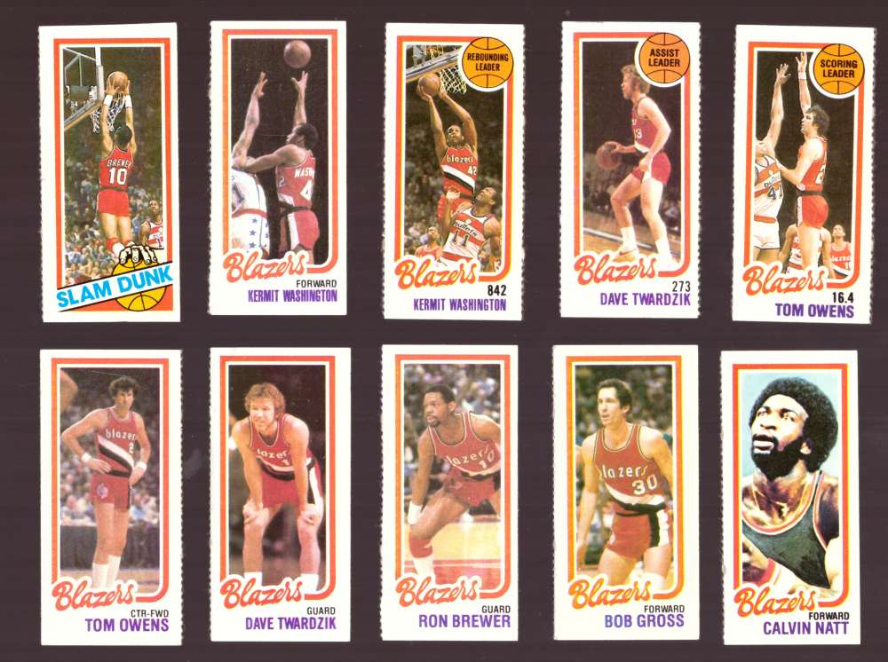 1980-81 Topps (Separated) Basketball Team Set - Portland Trail Blazers