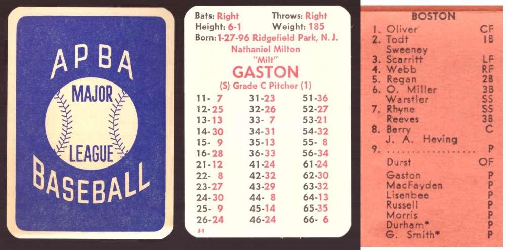 1930 APBA Season - BOSTON RED SOX Team Set