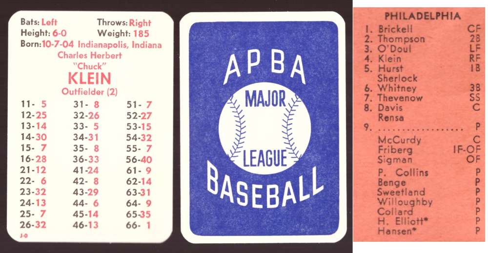 1930 APBA Season - PHILADELPHIA PHILLIES Team Set