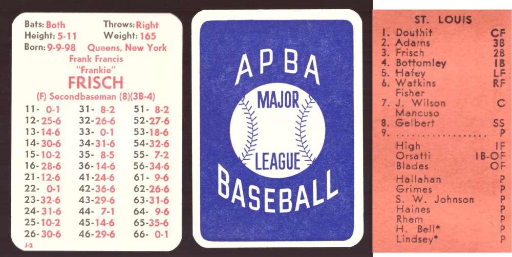 1930 APBA Season - ST LOUIS CARDINALS Team Set