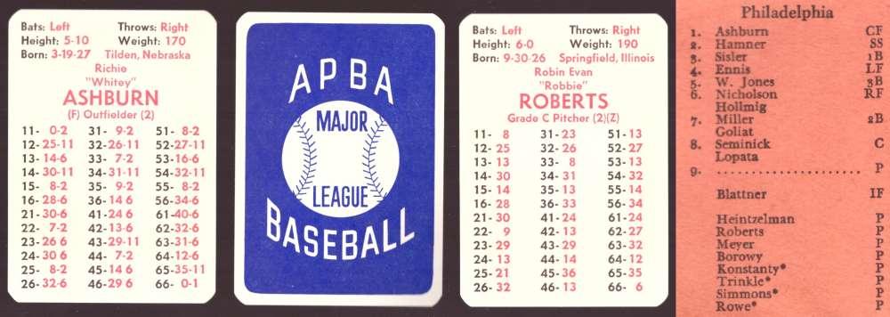 1949 APBA Season - PHILADELPHIA PHILLIES Team Set