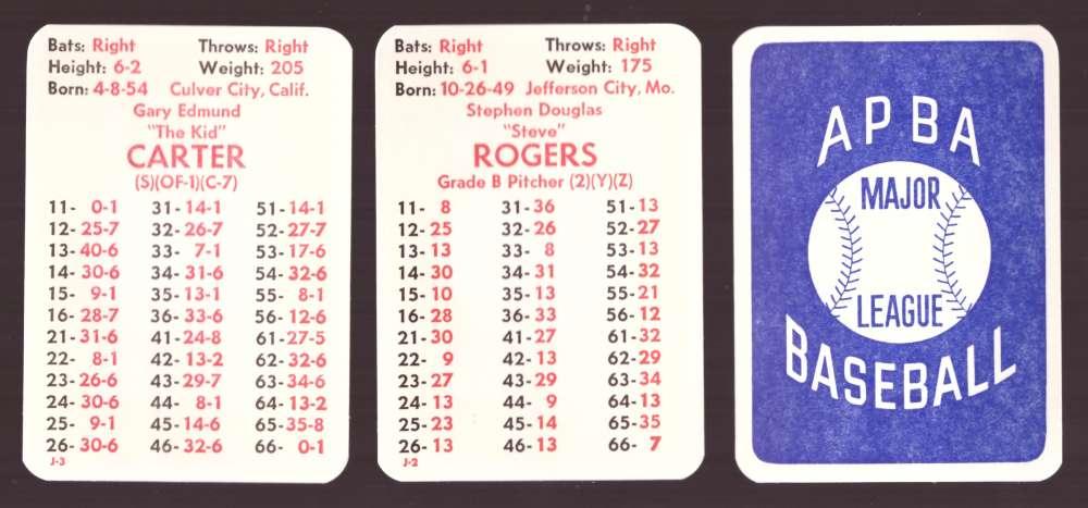 1976 APBA Original Season w/ Extra Players - MONTREAL EXPOS Team Set