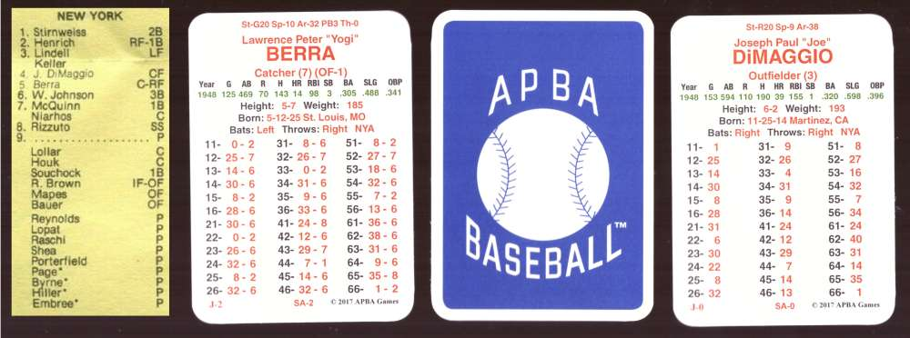 1948 APBA Season (From 2O17) - NEW YORK YANKEES Team Set