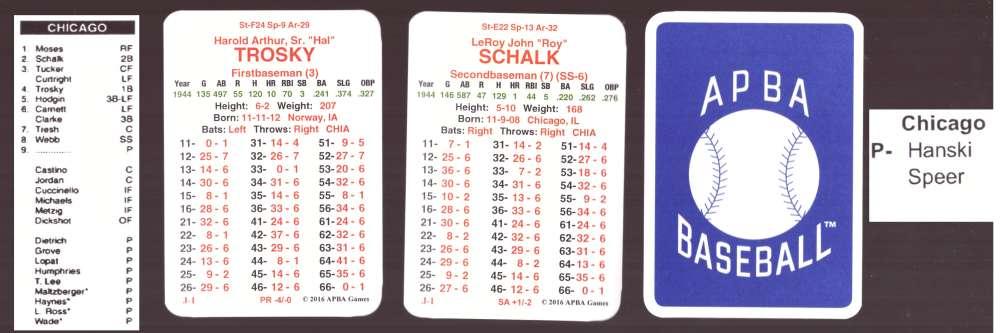 1944 APBA Season w/ XC (From 2O16) - CHICAGO WHITE SOX Team Set