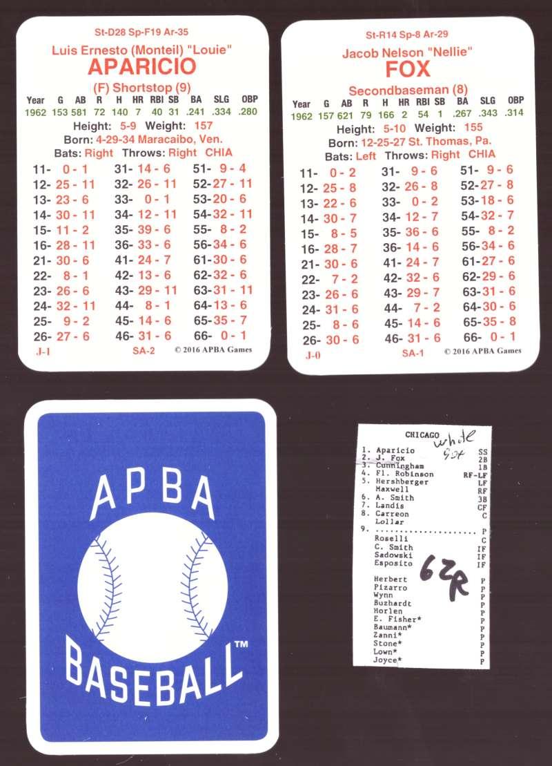 1962 APBA Season (from 2O16) (No Envelopes) - CHICAGO WHITE SOX Team Set