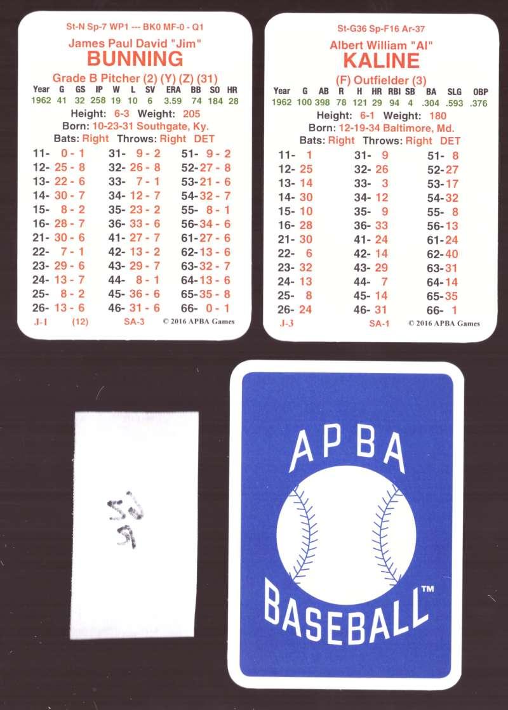 1962 APBA Season (from 2O16) (No Envelopes) - DETROIT TIGERS Team Set