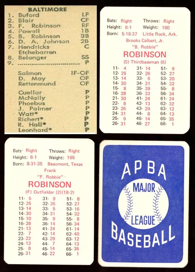 1969 APBA Original Season - BALTIMORE ORIOLES Team Set